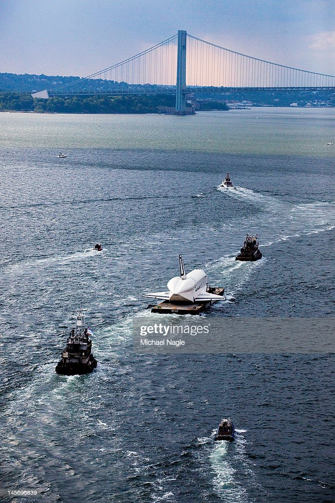 Space Shuttle Enterprise is carried by barge towards the Verrazano-Narrows Bridge on June 03, 2012 in New York City. Enterprise is on it's way to the Intrepid Sea, Air and Space Museum, where it will put on permanent display.
