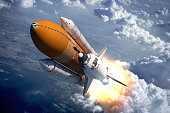 Space Shuttle Flying Over The Clouds. 3D Scene.