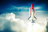 Space shuttle taking off on a mission