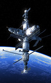 Space Station Orbiting Blue Planet. 3D Illustration. NASA Imsges NOT USED!
