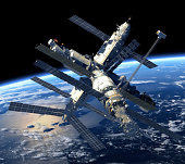 Space Station Orbiting Earth. 3D Scene.
