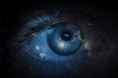 Space nebula with human eye. Concept image.