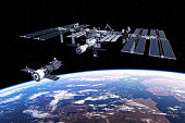 Spacecraft Docked To International Space Station. 3D Illustration. (NASA Images NOT USED!)