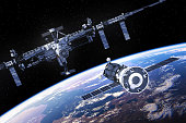 Spacecraft Is Preparing To Dock With International Space Station. 3D Illustration. (NASA Images NOT USED!)