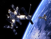 Spacecraft 'Soyuz' And Space Station. 3D Scene.