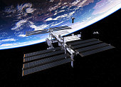 Spacecrafts And International Space Station. 3D Illustration. (NASA Images NOT USED!)