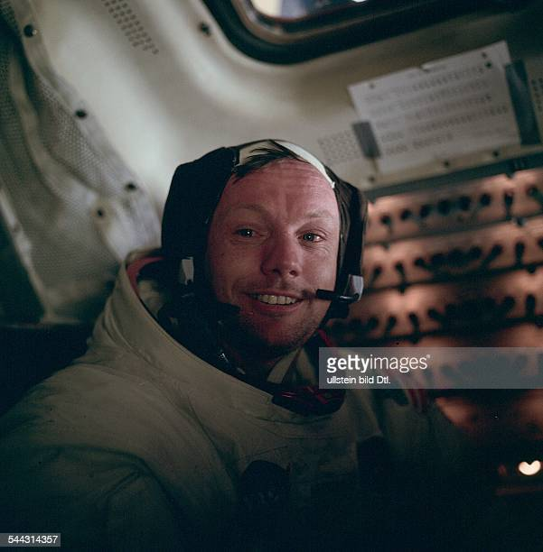 Spaceflight United States of America Moon landing of Apollo 11 in 1969 Portrait of Neil ARMSTRONG in lunar module 'Eagle' after historic moonwalk and...