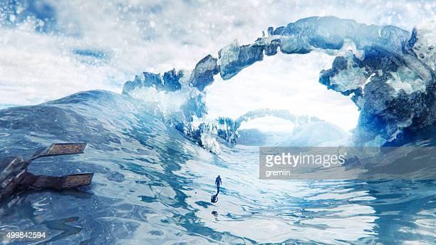 Spaceship dettaglio sul freddo, glaciale pianeta