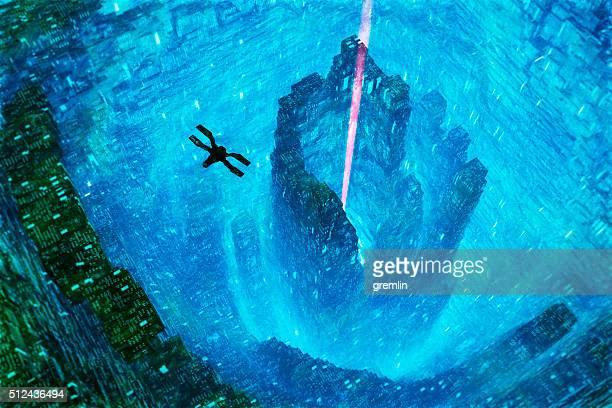 Nave espacial futurista Colmena volando en la ciudad