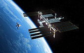 Spaceship Is Preparing To Dock With International Space Station. 3D Illustration. NASA Images Not Used.