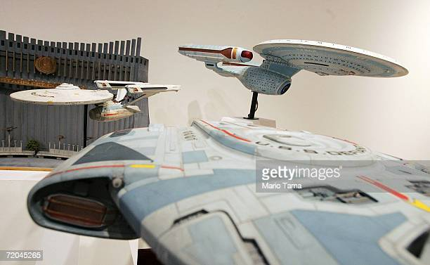Spaceship models are diplayed at a press preview of '40 Years of Star Trek The Collection' at Christie's autction house September 29 2006 in New York...