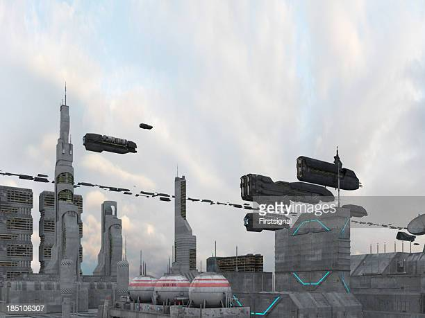 Spaceships flying over a city