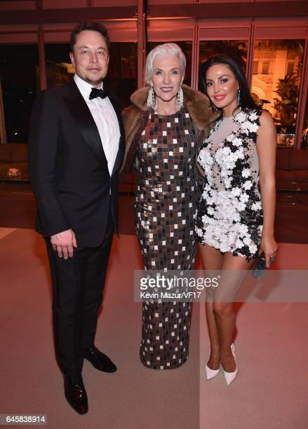 SpaceX CEO Elon Musk Maye Musk and actor Bleona attend the 2017 Vanity Fair Oscar Party hosted by Graydon Carter at Wallis Annenberg Center for the...