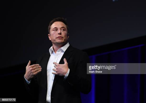 SpaceX CEO Elon Musk speaks at the International Astronautical Congress on September 29 2017 in Adelaide Australia Musk detailed the longterm...