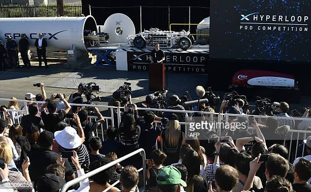 SpaceX CEO Elon Musk speaks during the SpaceX Hyperloop competition in Hawthorne California on January 29 2017 Students from 30 colleges and...