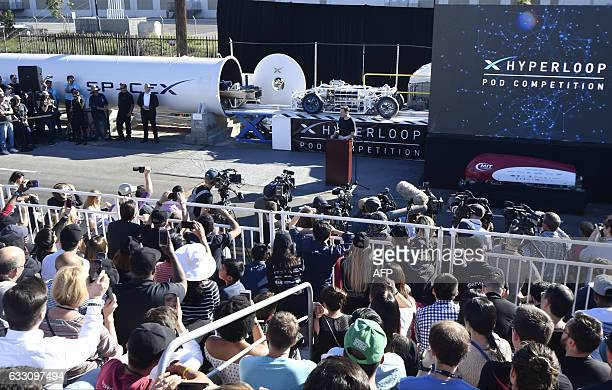 SpaceX CEO Elon Musk speaks during the SpaceX Hyperloop pod competition in Hawthorne California on January 29 2017 Students from 30 colleges and...