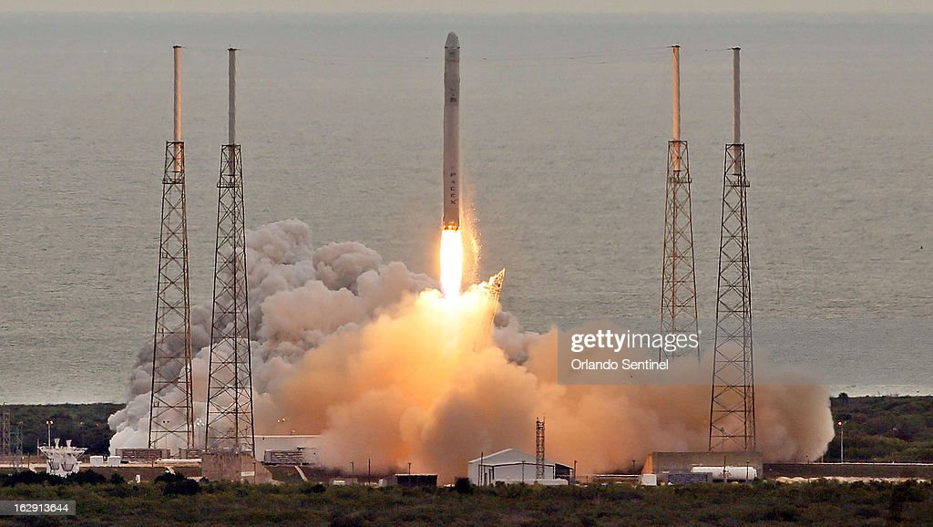 A SpaceX Falcon 9 rocket launches, Friday, March 1, 2013 from Cape Canaveral Air Force Station for its second resupply mission to the International Space Station.
