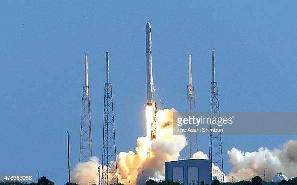 SpaceX Falcon9 lifts off from the launch pad at the Cape Canaveral Air Force Station on June 28 2015 in Cape Canaveral Florida After the launch the...
