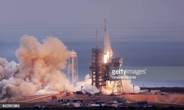 A SpaceX Falcon9 rocket blasts off Sunday Feb 19 2017 from the Kennedy Space Center Pad39A was the launch site of a rocket that carried the first US...