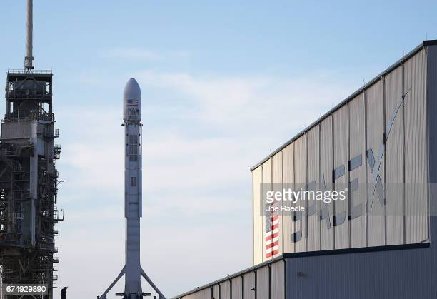 SpaceX rocket sits on launch pad 39A as it is prepared for the NROL76 launch on April 29 2017 in Cape Canaveral Florida SpaceX will attempt to...