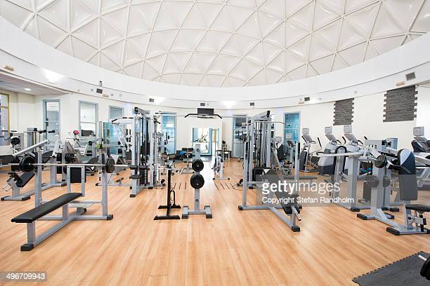 Spacious and bright gym weightlifting room