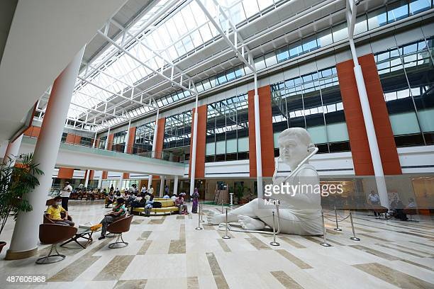 Spacious and patient friendly lobby at Fortis Hospital on September 9 2014 in Gurgaon India