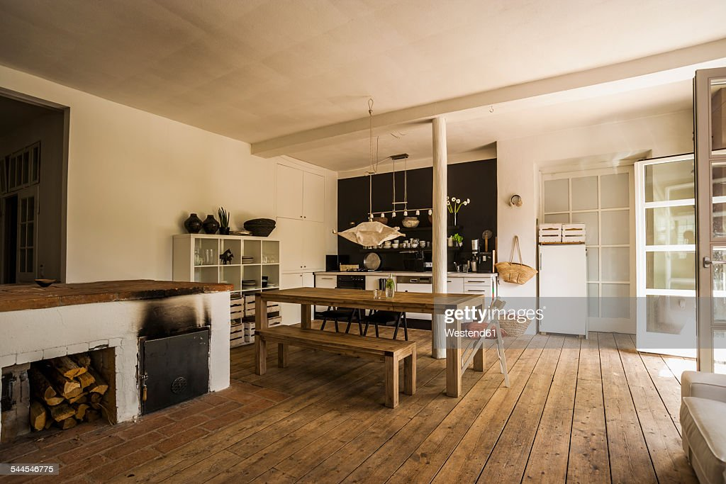 Spacious dining room with wooden floor