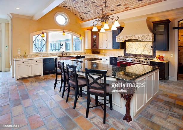 Spacious Kitchen Area With Tile Flooring