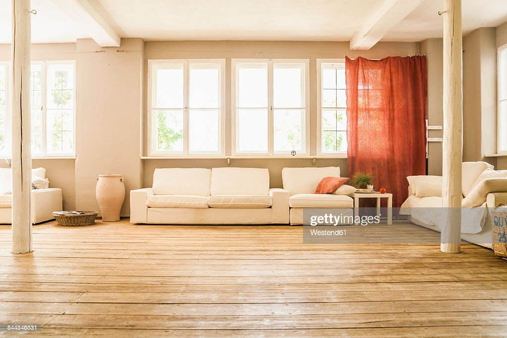 Spacious Living Room With Wooden Floor : Stock Photo