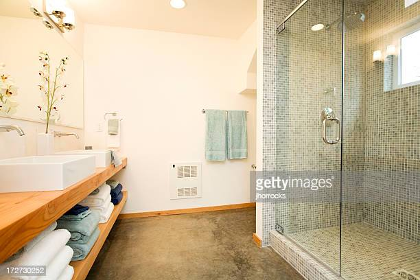 広々としたモダンなバスルームの洗面台とシャワー