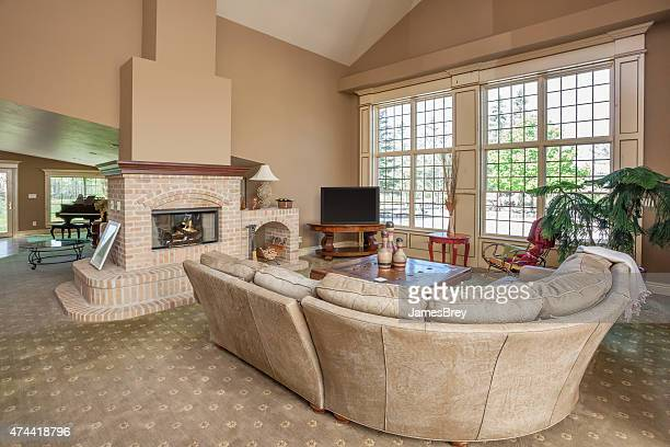 Spacious Yet Cozy Home Living Room with Fireplace