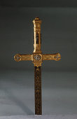 A spadone a large sword which was a gift from the Commender of the Pontificial Army in 1869 On the golden hilt are four small silver statues of Faith...