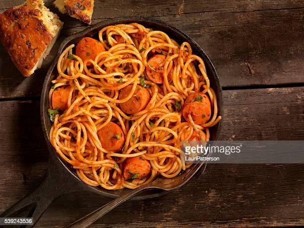 Spaghetti and Hotdogs in Tomato Sauce