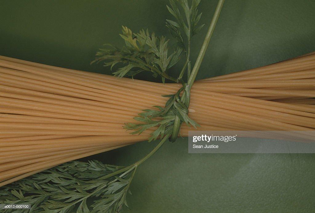 Spaghetti and Leaves : Stock Photo