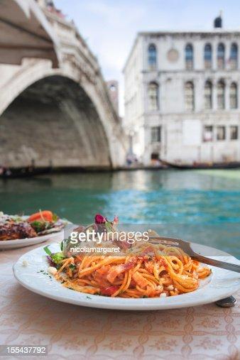 Spaghetti at the Rialto Bridge, Venice.