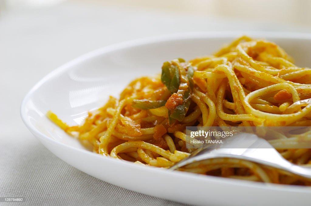 Spaghetti in white plate : Stock Photo