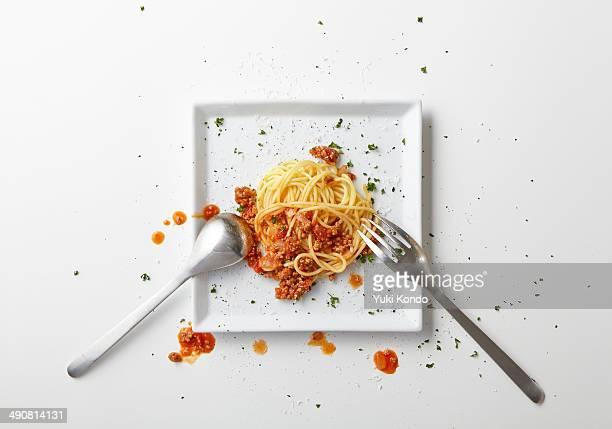 Spaghetti meat half-eaten.
