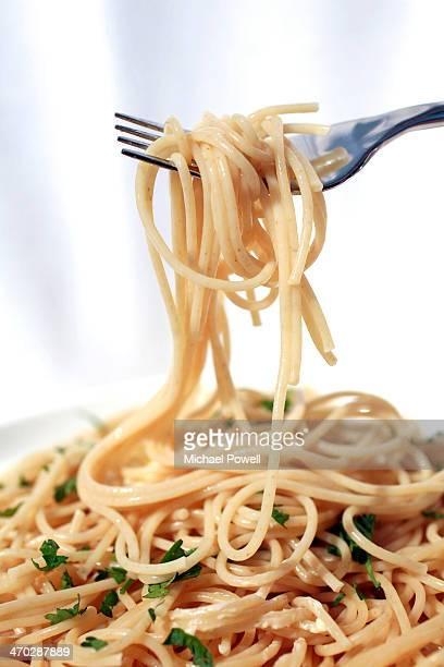 Spaghetti on fork.