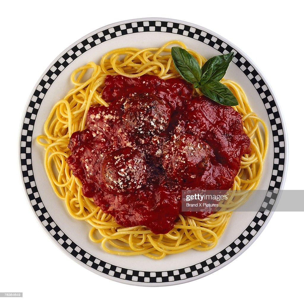 Spaghetti with meatballs : Stock Photo