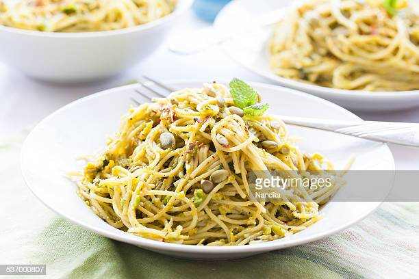 Spaghetti with mint avocado pesto