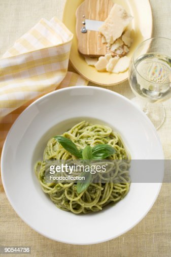 Spaghetti With Pesto Parmesan And Glass Of White Wine ...