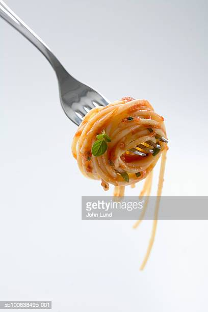 Spaghetti with sauce wound around fork, close-up, studio shot