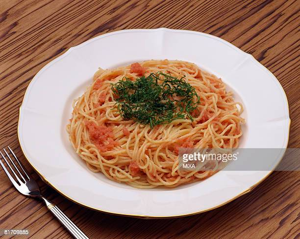 Spaghetti with spicy cod roe