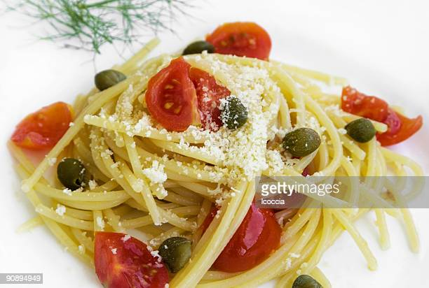 Spaghetti with tomato, capers and anchovies