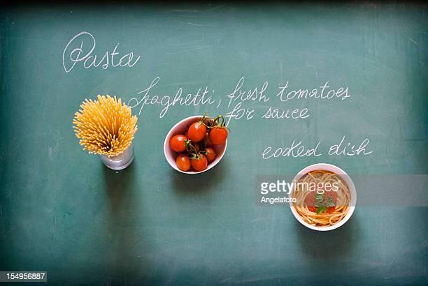 Spaghetti with Tomato Ingredients on Blackboard