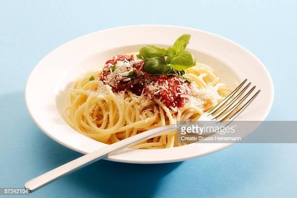 Spaghetti with tomato sauce, close-up
