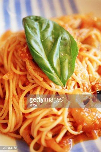 Spaghetti with tomato sauce : Stock Photo