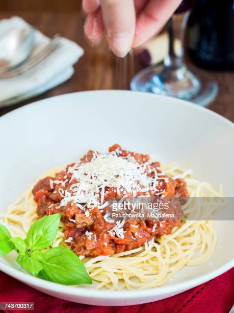 Spaghetti with vegetarian Bolognese and Parmesan cheese