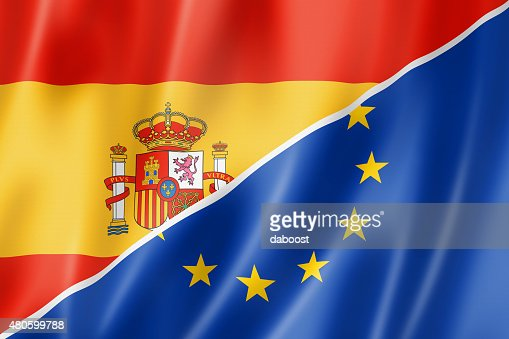 Spain and Europe flag : Stock Photo
