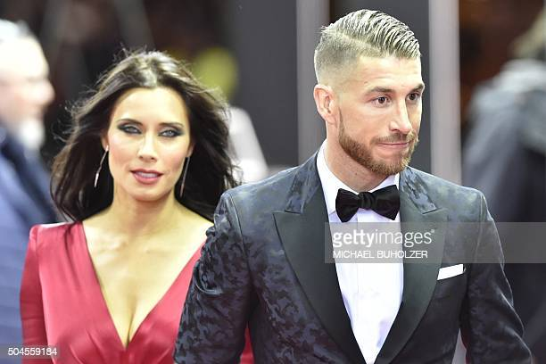 Spain and Real Madrid defender Sergio Ramos and Pilar Rubio pose on the red carpet as they arrive for the 2015 FIFA Ballon d'Or award ceremony at the...
